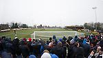Rangers fans behind the goal at Galabank Stadium, Annan