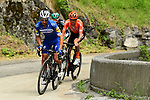 The breakaway Julian Alaphilippe (FRA) Deceuninck-Quick Step, Gregor Mühlberger (AUT) Bora-Hansgrohe and Alessandro De Marchi (ITA) CCC Team during Stage 6 of the Criterium du Dauphine 2019, running 229km from Saint-Vulbas - Plaine de l'Ain to Saint-Michel-de-Maurienne, France. 14th June 2019.<br /> Picture: ASO/Alex Broadway | Cyclefile<br /> All photos usage must carry mandatory copyright credit (© Cyclefile | ASO/Alex Broadway)