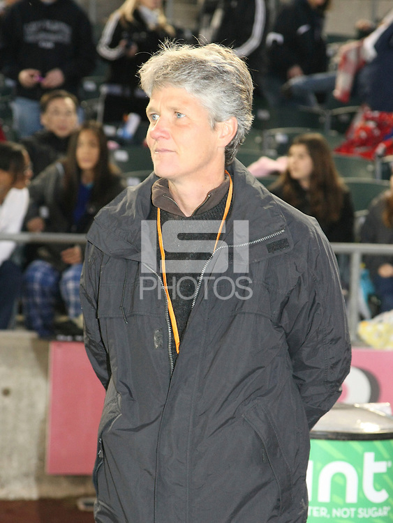 U.S. Women's National team head coach, Pia Sundhage, looks on during player introductions before the game between Sky Blue and FC Gold Pride. Sky Blue FC and FC Gold Pride battled to a 1-1 draw in Bridgewater, NJ on Saturday, April 11, 2009.