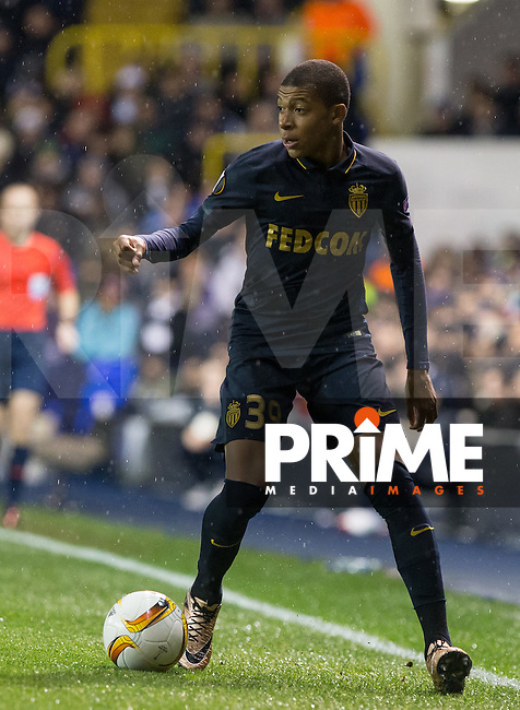 Kylian Mbappe of Monaco on the ball during the UEFA Europa League group match between Tottenham Hotspur and Monaco at White Hart Lane, London, England on 10 December 2015. Photo by Andy Rowland.