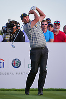 Marc Leishman (AUS) watches his tee shot on 17 during round 2 Four-Ball of the 2017 President's Cup, Liberty National Golf Club, Jersey City, New Jersey, USA. 9/29/2017.<br /> Picture: Golffile | Ken Murray<br /> <br /> All photo usage must carry mandatory copyright credit (&copy; Golffile | Ken Murray)