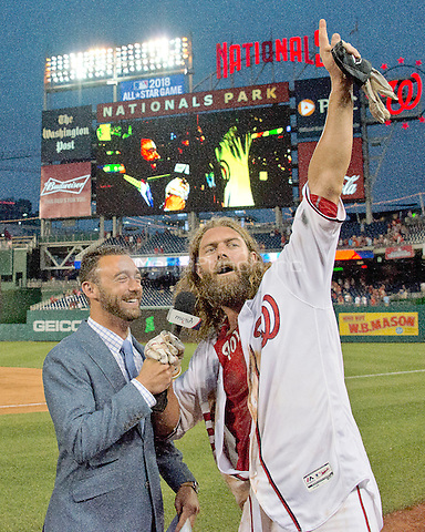 Washington Nationals left fielder Jayson Werth (28) is interviewed by MASN's Dan Kolko as he celebrates the long single that scored Michael A. Taylor from first to beat the Chicago Cubs 5 - 4 in the 12th inning at Nationals Park in Washington, D.C. on Wednesday, June 15, 2016. <br /> Credit: Ron Sachs / CNP/MediaPunch ***FOR EDITORIAL USE ONLY***