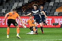 29th July 2020; Bankwest Stadium, Parramatta, New South Wales, Australia; A League Football, Melbourne Victory versus Brisbane Roar; Danny Kim of Brisbane Roar brings down Jay Barnett of Melbourne Victory on the edge of the area