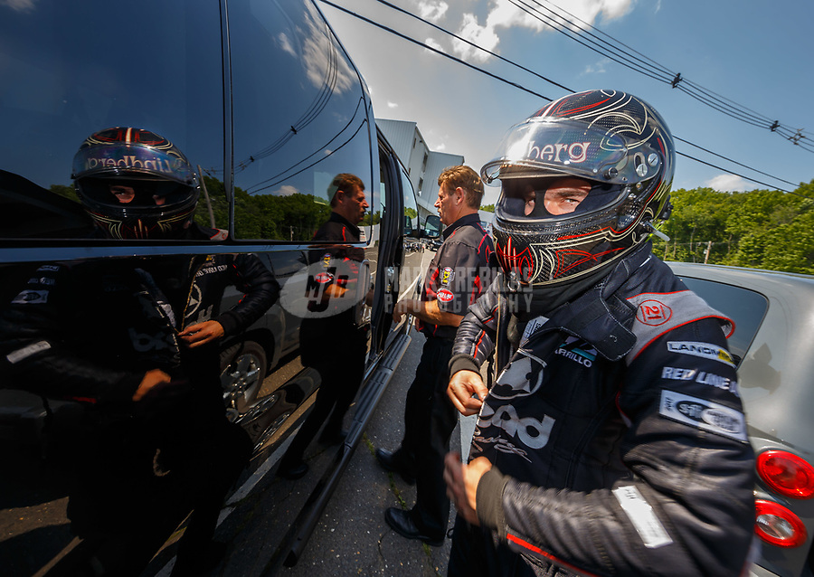Jun 10, 2017; Englishtown , NJ, USA; NHRA funny car driver Jonnie Lindberg during qualifying for the Summernationals at Old Bridge Township Raceway Park. Mandatory Credit: Mark J. Rebilas-USA TODAY Sports