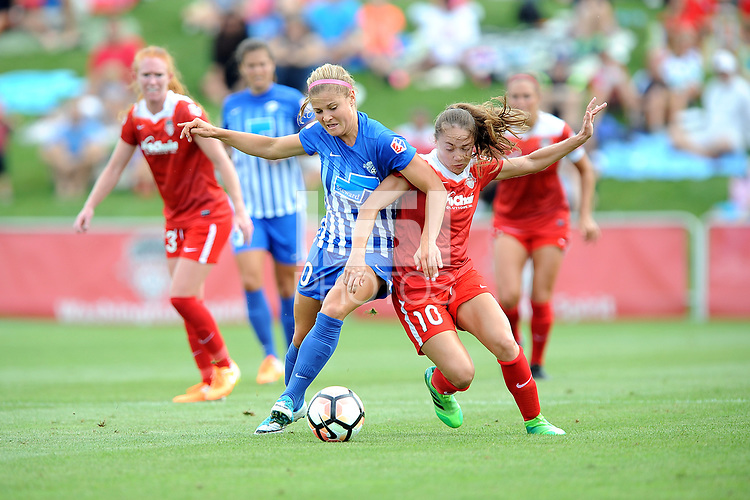 Boyds, MD - Saturday August 12, 2017:Rosie White, Estefanía Banini during a regular season National Women's Soccer League (NWSL) match between the Washington Spirit and The Boston Breakers at Maureen Hendricks Field, Maryland SoccerPlex.