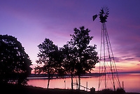 sunrise, windmill, Vermont, VT, South Hero, [Sunrise, sunset] on Keeler Bay on Lake Champlain.