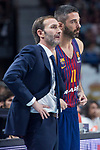 FC Barcelona Lassa coach Sito Alonso and Juan Carlos Navarro during Turkish Airlines Euroleague match between Real Madrid and FC Barcelona Lassa at Wizink Center in Madrid, Spain. December 14, 2017. (ALTERPHOTOS/Borja B.Hojas)