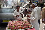 Street vendor in the  Paharganj district of New Delhi, India.