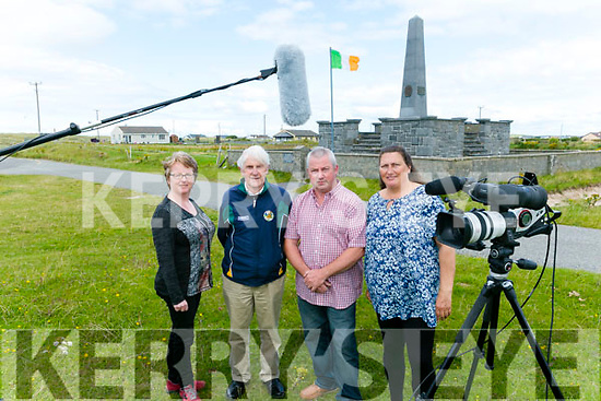 James McCarthy and Catherine McCarthy making documentary on Banna - telling the local story on Roger Casement. Pictured here at the Roger Casement Monument in Banna with Curator of Kerry County Museum Helen O'Carroll  and the last surviving member of the original 1966 Roger Casement Memorial Committee, Seán Seosamh Ó Conchubhair.