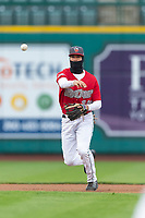 Fort Wayne TinCaps shortstop Justin Lopez (14) throws to first base during a Midwest League game against the Fort Wayne TinCaps at Parkview Field on April 30, 2019 in Fort Wayne, Indiana. Kane County defeated Fort Wayne 7-4. (Zachary Lucy/Four Seam Images)