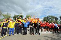 KAATSEN: FRANEKER: Sportcomplex 'De Trije', 01-09-2012, Wereldkampioenschap Kaatsen, Llargues, Eindhuldiging, Team Colombia (zilver), Team Nederland (wereldkampioen), Team Spanje (brons), ©foto Martin de Jong