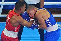 BARRANQUILLA - COLOMBIA, 25-07-2018: RIVERA FIGUEROA Yankiel (Puerto Rico) vs JIMENEZ RODRIGUEZ David A. (Costa Rica) durante su participación en boxeo masculino categoría minimosca como parte de los Juegos Centroamericanos y del Caribe Barranquilla 2018. /  RIVERA FIGUEROA Yankiel (Puerto Rico) vs JIMENEZ RODRIGUEZ David A. (Costa Rica) during their participation in the boxing men's light fly category of the Central American and Caribbean Sports Games Barranquilla 2018. Photo: VizzorImage / Alfonso Cervantes / Cont