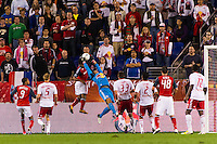 New York Red Bulls goalkeeper Luis Robles (31) grabs a pass. The New York Red Bulls defeated Toronto FC 4-1 during a Major League Soccer (MLS) match at Red Bull Arena in Harrison, NJ, on September 29, 2012.