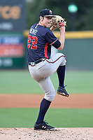 Starting pitcher Joey Wentz (22) of the Rome Braves delivers a pitch in a game against the Greenville Drive on Friday, August 11, 2017, at Fluor Field at the West End in Greenville, South Carolina. Greenville won, 1-0. (Tom Priddy/Four Seam Images)