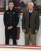 Matt Malloy (BC - Student Manager), Jerry York (BC - Head Coach) - The Boston College Eagles defeated the visiting University of New Brunswick Varsity Reds 6-4 in an exhibition game on Saturday, October 4, 2014, at Kelley Rink in Conte Forum in Chestnut Hill, Massachusetts.