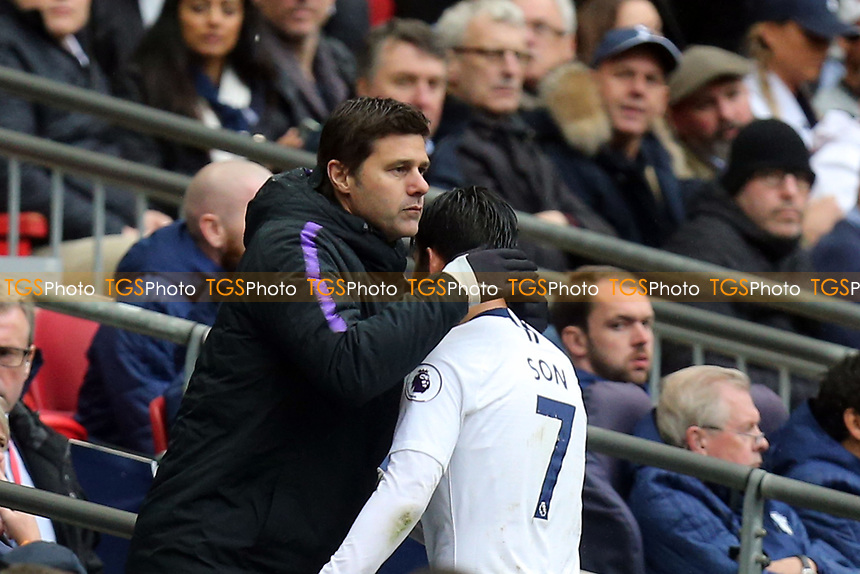 Tottenham Hotspur manager Mauricio Pochettino appreciates the efforts of Son Heung-Min of Tottenham Hotspur during Tottenham Hotspur vs Cardiff City, Premier League Football at Wembley Stadium on 6th October 2018