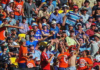 Fans try to catch Brendon McCullum's six during the ICC Cricket World Cup one day pool match between the New Zealand Black Caps and England at Wellington Regional Stadium, Wellington, New Zealand on Friday, 20 February 2015. Photo: Dave Lintott / lintottphoto.co.nz
