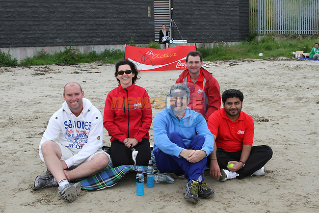 Eddie Curey, Siobhan Woods, Murray Kirkwood, James Dennis, Syed Zaidi and Fergus Hanlon at Beach Cricket on Bettystown Beach....(Photo credit should read Jenny Matthews/NEWSFILE)....This Picture has been sent you under the condtions enclosed by:.Newsfile Ltd..The Studio,.Millmount Abbey,.Drogheda,.Co Meath..Ireland..Tel: +353(0)41-9871240.Fax: +353(0)41-9871260.GSM: +353(0)86-2500958.email: pictures@newsfile.ie.www.newsfile.ie.FTP: 193.120.102.198.