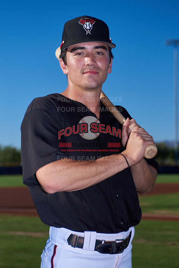AZL D-backs outfielder Corbin Carroll (2) poses for a photo before an Arizona League game against the AZL Angels on July 20, 2019 at Salt River Fields at Talking Stick in Scottsdale, Arizona. The AZL Angels defeated the AZL D-backs 11-4. (Zachary Lucy/Four Seam Images)