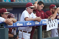 Florida State Seminoles head coach Mike Martin Sr. (11) watches from the dugout during the game against the Duke Blue Devils in the first semifinal of the 2017 ACC Baseball Championship at Louisville Slugger Field on May 27, 2017 in Louisville, Kentucky. The Seminoles defeated the Blue Devils 5-1. (Brian Westerholt/Four Seam Images)