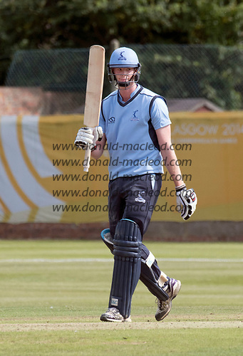 This image is FREE to use (first use only), courtesy of Cricket Scotland - Scottish Cup Final - Carlton CC V Watsonians CC at Forthill, Dundee - Carrlton skipper Ally Evans celebrates his 50 - picture by Donald MacLeod - 20.08.2017 - 07702 319 738 - clanmacleod@btinternet.com - www.donald-macleod.com