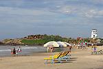 Hammock and umbrellas ready for tourist at Kovalam Beach, Kerala