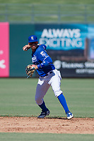 Kansas City Royals shortstop Jeison Guzman (1) makes a throw to first base during an Instructional League game against the Cincinnati Reds on October 2, 2017 at Surprise Stadium in Surprise, Arizona. (Zachary Lucy/Four Seam Images)