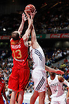 Real Madrid´s Felipe Reyes (R) and CAI Zaragoza´s Sanikidze during 2013-14 Liga Endesa basketball match at Palacio de los Deportes stadium in Madrid, Spain. May 30, 2014. (ALTERPHOTOS/Victor Blanco)