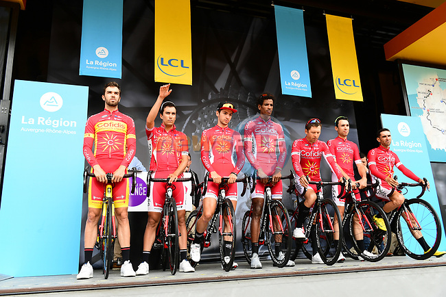 Cofidis team introduced on stage at sign on before Stage 1 of the 2018 Criterium du Dauphine 2018 running 179km from Valence to Saint-Just-Saint-Rambert, France. 4th June 2018.<br /> Picture: ASO/Alex Broadway | Cyclefile<br /> <br /> <br /> All photos usage must carry mandatory copyright credit (© Cyclefile | ASO/Alex Broadway)