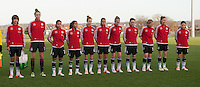 20151128 - Tubize , Belgium : team of Germany pictured during the female soccer match between Women under 16 teams of  Belgium and Germany , in Tubize . Saturday 28th November 2015 . PHOTO DIRK VUYLSTEKE