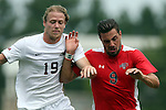30 August 2015: Elon's Nathan Diehl (19) and Saint Mary's Will Kendall (ENG) (9). The Elon University Phoenix played the Saint Mary's College Gaels at Koskinen Stadium in Durham, NC in a 2015 NCAA Division I Men's Soccer match. Elon won the game 1-0.