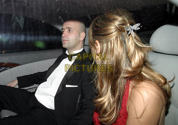CLAIRE SWEENEY.The Tio Pepe/Carlton London Restaurant Awards 2004.Grosvenor House.08 March 2004.taxi, car, cab, hair accessory, dragonfly clip.www.capitalpictures.com.sales@capitalpictures.com.© Capital Pictures.