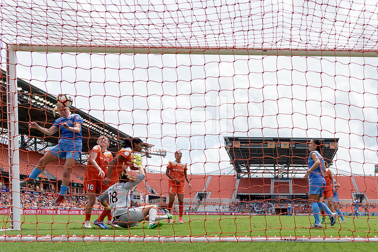 Houston, TX - Saturday April 15, 2017: Alyssa Mautz attempts to head the ball into the net during a regular season National Women's Soccer League (NWSL) match won by the Houston Dash 2-0 over the Chicago Red Stars at BBVA Compass Stadium.