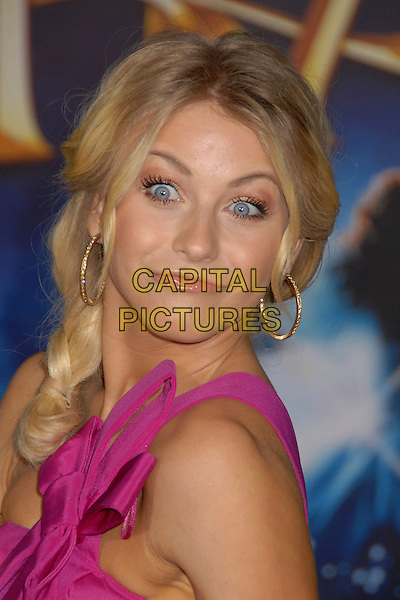"JULIANNE HOUGH.""Enchanted"" Los Angeles Premiere at the El Capitan Theatre, Hollywood, California, USA..November 17th, 2007.headshot portrait pink one shoulder hoop earrings bow ribbon funny face .CAP/ADM/BP.©Byron Purvis/AdMedia/Capital Pictures."