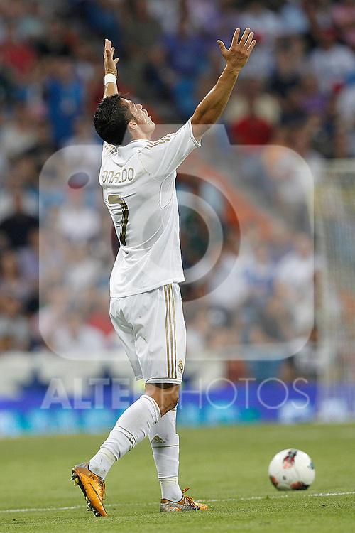 Real Madrid's Cristiano Ronaldo yellow card during La Liga match on september 10th 2011...Photo: Cesar Cebolla / ALFAQUI