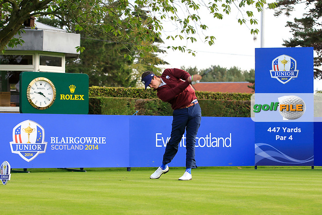 Davis Riley (USA) on the 1st tee during Day 2 Singles for the Junior Ryder Cup 2014 at Blairgowrie Golf Club on Tuesday 23rd September 2014.<br /> Picture:  Thos Caffrey / www.golffile.ie