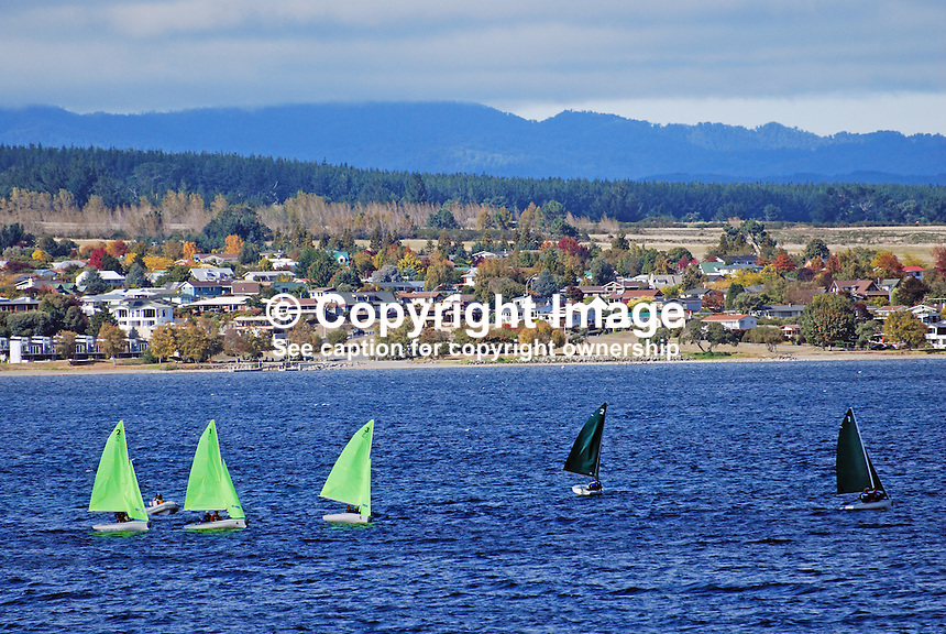 Yachts, sailing boats, Lake Taupo, New Zealand, with Taupo, the township, in the background. 20104145426..Copyright Image from Victor Patterson, 54 Dorchester Park, Belfast, United Kingdom, UK. Tel: +44 28 90661296. Email: victorpatterson@me.com; Back-up: victorpatterson@gmail.com..For my Terms and Conditions of Use go to www.victorpatterson.com and click on the appropriate tab.