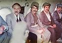 Iraq 1985   <br /> On their way  for negociations with Iraqi authorities , a Kurdish delegation in an helicopter with Abdul Rahman Ghassemlou, Mala Bakhtyiar, Mullazem Omar Abdallah  <br /> Irak 1984 <br /> Une delegation de Kurdes  en route pour negocier avec les autorites irakiennes
