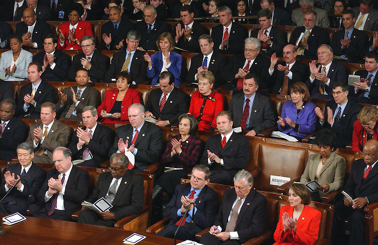 1/28/03.STATE OF THE UNION ADDRESS--Democrats applaud during President George W. Bush's State of the Union address at the U.S. Capitol..CONGRESSIONAL QUARTERLY PHOTO BY SCOTT J. FERRELL