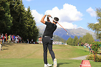 Mike Lorenzo-Vera (FRA) tees off the 18th tee during Sunday's Final Round 4 of the 2018 Omega European Masters, held at the Golf Club Crans-Sur-Sierre, Crans Montana, Switzerland. 9th September 2018.<br /> Picture: Eoin Clarke | Golffile<br /> <br /> <br /> All photos usage must carry mandatory copyright credit (&copy; Golffile | Eoin Clarke)