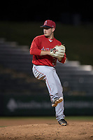 AZL Angels relief pitcher Cody Eckerson (56) delivers a pitch during an Arizona League game against the AZL Athletics at Tempe Diablo Stadium on June 26, 2018 in Tempe, Arizona. The AZL Athletics defeated the AZL Angels 7-1. (Zachary Lucy/Four Seam Images)