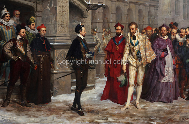 Henri III and the Duc de Guise in Blois in 1588, detail, oil painting on canvas, 1855, by Pierre Charles Comte, 1823-95, in the Salle du Conseil or Council Room, the site of the assassination of the Duc de Guise in 1588, on the second floor of the Francois I wing, built early 16th century in Italian Renaissance style, at the Chateau Royal de Blois, built 13th - 17th century in Blois in the Loire Valley, Loir-et-Cher, Centre, France. The murder is retold in several 19th century paintings hung in the room. The chateau has 564 rooms and 75 staircases and is listed as a historic monument and UNESCO World Heritage Site. Picture by Manuel Cohen