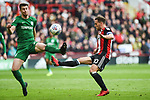 Billy Sharp of Sheffield Utd is challenged by Paul Huntington of Preston North End during the Championship league match at Bramall Lane Stadium, Sheffield. Picture date 28th April, 2018. Picture credit should read: Harry Marshall/Sportimage