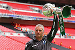 LONDON, ENGLAND - MAY 12: Gary Mills manger of York City holds the FA Carlsberg Trophy after winning the FA Trophy Final between York City and Newport Town at Wembley Stadium on May 12, 2012 in London, England. (Photo by Dave Horn - Extreme Aperture Photography)