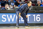 Mar. 25, 2015; Head coach Mike Brey leads practice at Quicken Loans Arena in Cleveland. (Photo by Matt Cashore/University of Notre Dame)