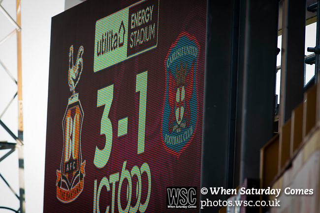 Bradford City 3, Carlisle United 1, 21/09/2019. Valley Parade, EFL League 2. The scoreboard announces the final score as Bradford City played Carlisle United in a Skybet League 2 fixture at Valley Parade. The home team were looking to bounce back after being relegated during a disastrous 2018-19 season on and off the pitch. Bradford won the match 3-1, watched by a crowd of 14, 217. Photo by Colin McPherson.