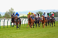 Winner of The Penang Turf Club Malaysia Handicap Chitra (blue) ridden by Richard Kingscote and trained by Daniel Kubler  during Afternoon Racing at Salisbury Racecourse on 16th May 2019