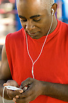 Man listening to music on ipod