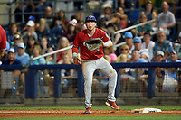 Fort Myers Miracle first baseman Ryan Costello (13) during a Florida State League game against the Charlotte Stone Crabs on April 6, 2019 at Charlotte Sports Park in Port Charlotte, Florida.  Fort Myers defeated Charlotte 7-4.  (Mike Janes/Four Seam Images)