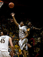 Tyrone Wallace of California shoots the ball during the game against USC at Haas Pavilion in Berkeley, California on February 17th, 2013.  California defeated USC, 76-68.